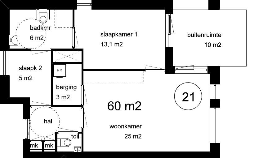 nieuw 60 m2 appartement amalia staete. Black Bedroom Furniture Sets. Home Design Ideas