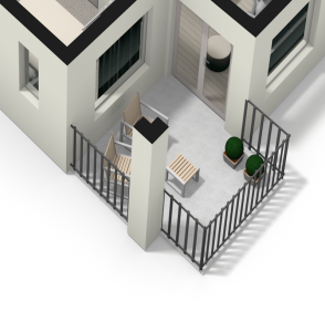 De 60 m2 appartementen hebben uitzicht over het park